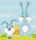 Greeting Card with Easter rabbits family — Stock Vector