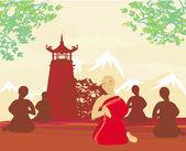 Monks during prayer — Stock Vector