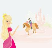 Prince riding a horse to the princess — Stock Vector