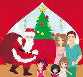 家庭圣诞在家里 — 图库矢量图片