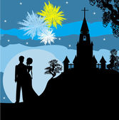 Bridal couple stand sorrounding by fireworks — Stock Vector