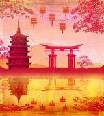 Chinese New Year card - Traditional lanterns and Asian buildings — Stock Photo