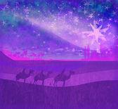 Classic three magic scene and shining star of Bethlehem — Stock Photo