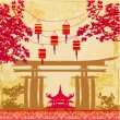 Chinese New Year card - Traditional lanterns and Asian buildings — Stock Vector