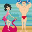 Man and woman exercises in the gym — Stock Vector