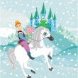 Prince riding a horse to the princess on a winter day — Stock Vector