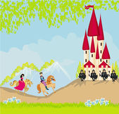 Prince and princess on their horses go to the castle — Stock Vector