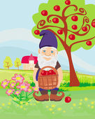 Smiling gnome gardener in the orchard — Stock Vector
