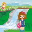 Girls are playing nearby waterfall — Stock Vector