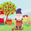 Two dwarfs and apple tree — Stock Vector