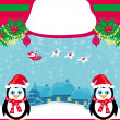 Christmas holiday background with santa claus ,reindeer and cute — Stock Vector