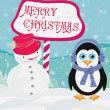 Christmas card with a penguin and snowman  — Stock Vector