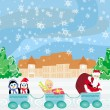 Santa Christmas Train - baby, gifts and penguins — Vecteur