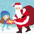 Santa claus with a bag of gifts and smiling little girl — Vector de stock
