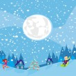 Fun in the winter night — Stock Vector