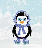 Illustration of cute penguin ice skates — Stock Vector