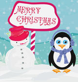 Christmas card with a penguin and snowman — Vetor de Stock