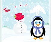 Christmas card with a penguin,santa claus and snowman — Stock Vector