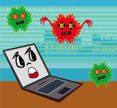 Computer virus attacking laptop — Stock Vector