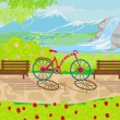 Bicycle stands in the park between the benches — Stock Vector