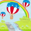 Hot Air Balloons of 4 of July in Flight — Vector de stock