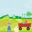 Farmer on his village — Stock Vector