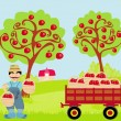 Stock Vector: Farmer in orchard