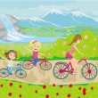 Mother and daughters biking in the park — Stock Vector