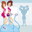 People exercise in the gym — Stock Vector