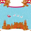 Christmas card with a ginger-bread and Santa Claus flying over c — Stock Vector