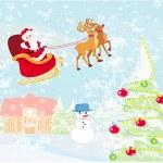 Santa Claus flying over village — Stock Vector
