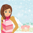 Stock Vector: Cute Girl with gift box