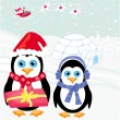 Christmas card with a penguins and santa — Stock Vector