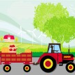 Man driving a tractor with a trailer full of vegetables — Stock Vector