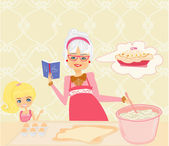 Grandma baking cookies with her granddaughter — Stock Vector