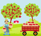 Farmer in the orchard — Stock Vector