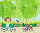 Children biking in the park — Stock Vector