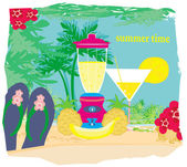 Vector summer background with palm trees and fruity drink — Stock Vector