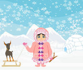 Little Eskimo girl and her dog — Stock Vector
