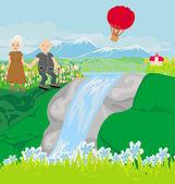 走在小山的年长夫妇 — 图库矢量图片