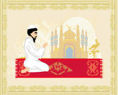 Abstract religious background - muslim man praying — Stock Vector