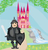 Knight guarding the entrance to the castle — Stock Vector