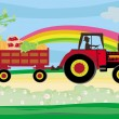 Wektor stockowy : Man driving a tractor with a trailer full of vegetables