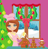 Portrait of happy young housewife decorating ginger house in cho — Vector de stock