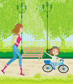 Sport in the park — Stock Vector