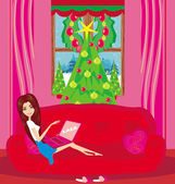Christmas online shopping girl — Stockvector