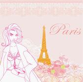 Vackra kvinnor shopping i paris — Stockvektor
