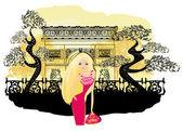 Paris'te alışveriş güzel kadınlar — Stok Vektör