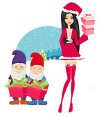 Beautiful pin-up girl in Christmas inspired costume and dwarfs h — Stock Vector