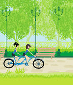 Friends biking in the park — Stock Vector